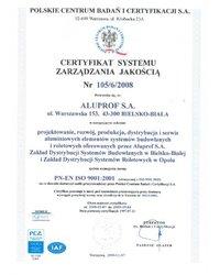 CERTYFIKAT SYSTEMU ZARZĄDZANIA JAKOŚCIĄ Nr 105/6/2008 - zdjęcie