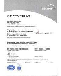 Certyfikat PN-EN ISO 9001:2009, PN-EN ISO 14001:2005 - zdjęcie