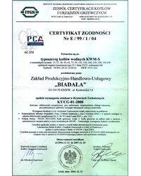 Certyfikat Zgodniści Nr E/99/1/04 - zdjęcie