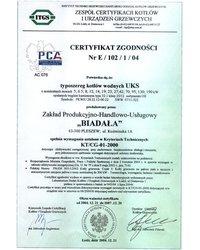 Certyfikat Zgodniści Nr E/102/1/04 - zdjęcie
