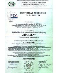 Certyfikat Zgodności Nr E / 99 / 1 / 04 - zdjęcie