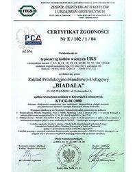 Certyfikat Zgodności Nr E / 102 /1 / 04 - zdjęcie