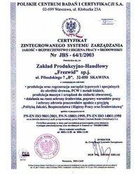 Certyfikat Zintegrowanego Systemu Zarządzania - zdjęcie