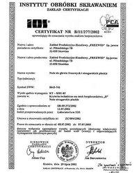 Certyfikat uprawniający do oznaczania wyrobu znakiem bezpieczeństwa - zdjęcie