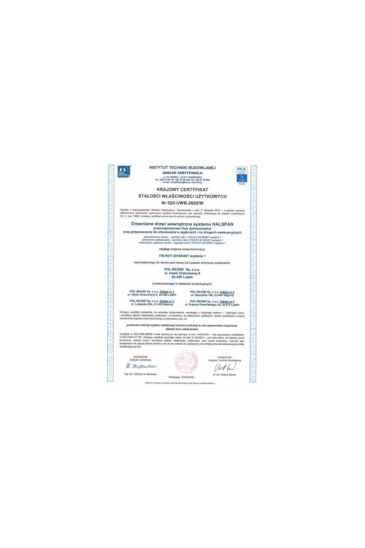 Krajowy certyfikat stałości właściwości użytkowych Nr 020-UWB-2695/W - zdjęcie