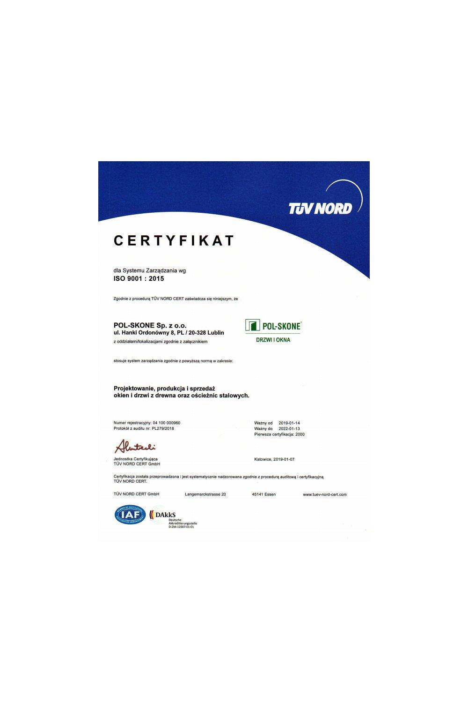 Certyfikat TÜV NOR - zdjęcie