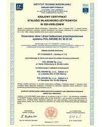 Krajowy certyfikat stałości użytkowych nr 020-UWB-2398/W - zdjęcie