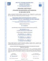 Krajowy certyfikat stałości właściwości użytkowych Nr 020-UWB-1937/W - zdjęcie