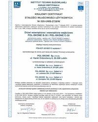Krajowy certyfikat stałości właściwości użytkowych Nr 020-UWB-2728/W - zdjęcie