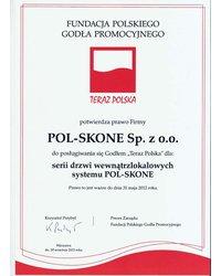 Certyfikat Teraz Polska - drzwi wewnątrzlokalowe - zdjęcie