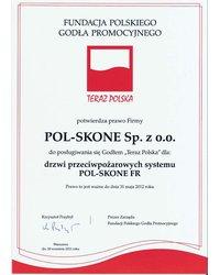Certyfikat Teraz Polska - drzwi przeciwpożarowe - zdjęcie