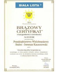 Brązowy Certyfikat wiarygodności i rzetelności - zdjęcie