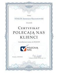 Certyfikat Polecają nas Klienci - zdjęcie