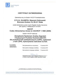 Certyfikat HACCP - zdjęcie