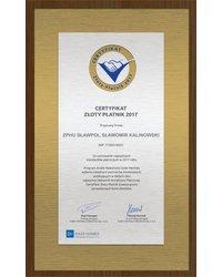 Certyfikat Złoty Płatnik 2017 - zdjęcie