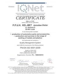 Certyfikat Jakości ISO IQNet - zdjęcie