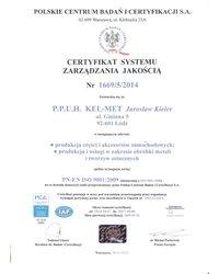 Certyfikat Jakości ISO Polskie Centrum Badań i Certyfikacji - zdjęcie