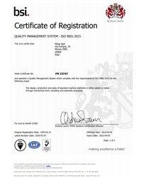 System Zarządzania Jakością ISO 9001:2015 - ELESA S.p.A. - zdjęcie