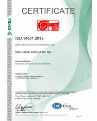 Certyfikat Systemu Zarządzania Środowiskowego ISO 14001:2015 - Otto Ganter GmbH & Co. KG - zdjęcie