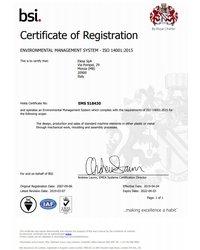 Certyfikat Systemu Zarządzania Środowiskowego ISO 14001:2015 - Elesa S.p.A. - zdjęcie