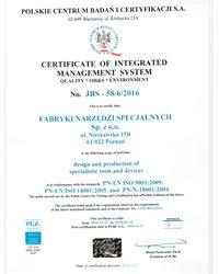 Certyfikat PN-EN ISO 90001:2009, PN-EN ISO 14001:2005 i PN-N-18001:2004 - zdjęcie