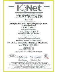 Certyfikat PN-EN ISO 9001:2009, PN-EN ISO 14001:2005 i PN-N-18001:2004 - zdjęcie