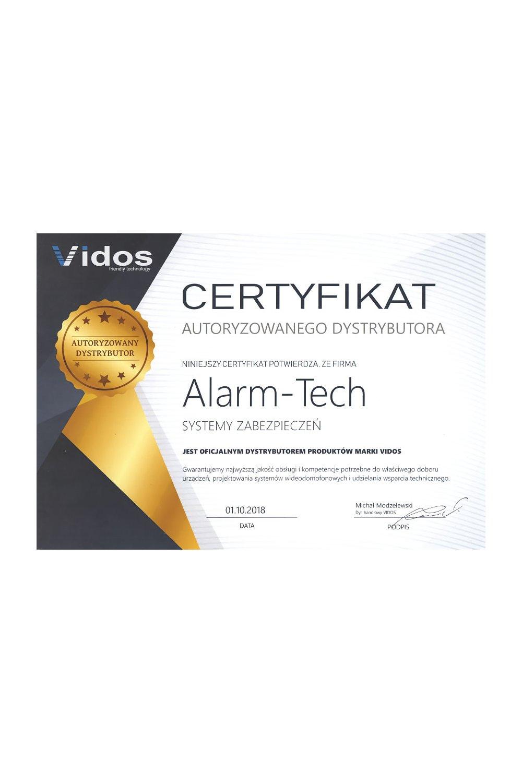 Certyfikat Autoryzowanego Dystrybutora Vidos - zdjęcie
