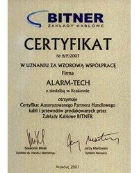 Certyfikat Autoryzowanego Partnera Handlowego kabli i przewodów firmy BITNER - zdjęcie