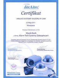 Certyfikat AIRLIVE SYSTEMY DOZORU IP CAM - zdjęcie
