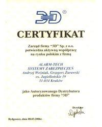"""Certyfikat Autoryzowanego Dystrybutora produktów firmy """"3D"""" - zdjęcie"""