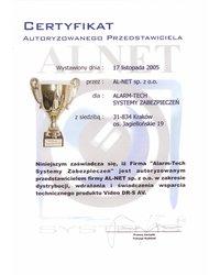 Certyfikat Autoryzowanego Przedstawiciela Alnet - zdjęcie