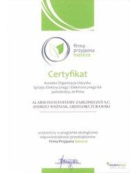 Certyfikat AuraEKO - zdjęcie