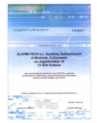 Certyfikat Autoryzowanego Partnera ROGER - zdjęcie