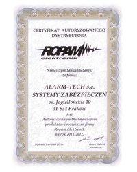 Certyfikat Autoryzowanego Dystrybutora systemów alarmowych ROPAM - zdjęcie