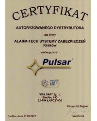 Certyfikat Autoryzowanego dystrybutora systemów alarmowych PULSAR - zdjęcie