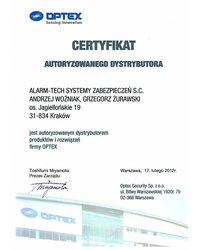 Certyfikat Autoryzowanego Dystrybutora Optex - zdjęcie