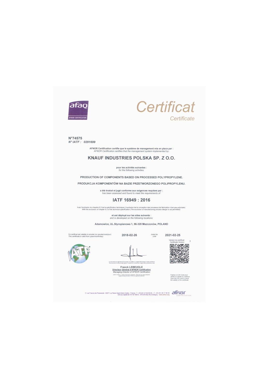 Certyfikat IATF - zdjęcie