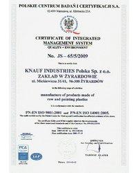 Certyfikat  JS-65/5-2009 - zdjęcie