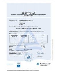 Certyfikat - Spawanie pojazdów szynowych i ich części składowych według EN 15085-2:2007 - zdjęcie