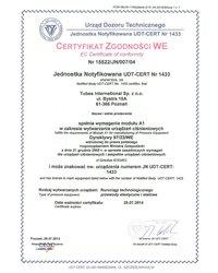 Certyfikat CE Tubes International - zdjęcie