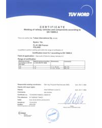 Certyfikat TUV NORD EN 15085-2 - zdjęcie