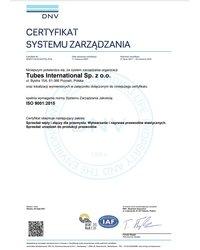DNV ISO 9001 Tubes International - zdjęcie
