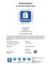 Certyfikat QUALIANOD - zdjęcie