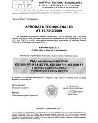 Aprobata techniczna na płyty warstwowe KINGSPAN KS 1000 FR, KS 1000 FH i KS 1000 FF - zdjęcie