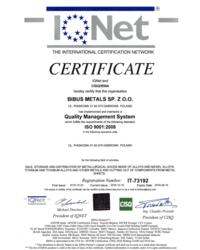Certyfikat IQNet9001 - zdjęcie