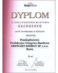 Dyplom za 10 lat obecności w Kielcach (SacroExpo 2009) - zdjęcie