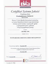 Certyfikat Systemu Jakości ISO 9002:1994 - zdjęcie