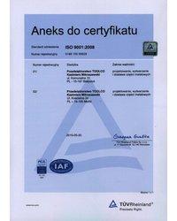 Aneks do certyfikatu ISO 9001:2008 - zdjęcie