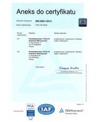 Aneks do certyfikatu ISO 9001:2015 - zdjęcie