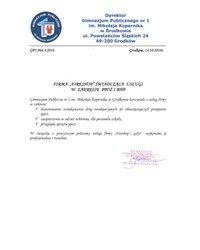Referencje Publicznej Szkoły Podstawowej nr 1 w Grodkowie - zdjęcie